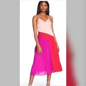 Cushnie Target Pleated Midi Dress Pink Red